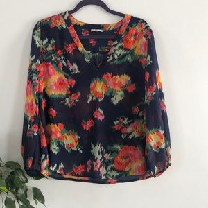 Joie 100% Silk Floral Long Sleeve Top